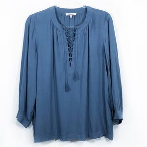 MADEWELL | oversized lace up tassel peasant top XS